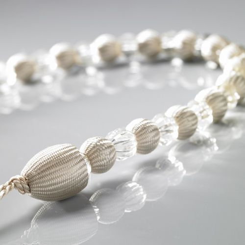 CREAM COLOUR PAIR OF CRYSTAL ROPE TIEBACKS